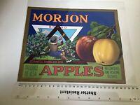 Morjon Brand U.S.A. Vintage Apples  Fruit Advertising Crate Label 49312