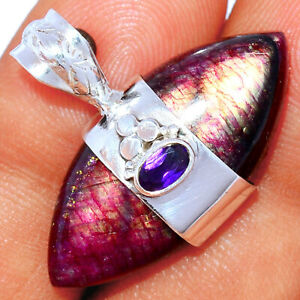 Red Flash Labradorite & Amethyst 925 Silver Pendant Jewelry BP85127 290K