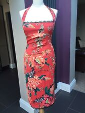 KAREN MILLEN ORANGE RED & FLORAL PRINT LACE CORSET DRESS SIZE 12