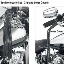 "12"" Motorcycle Genuine Leather Handlebar Grip and Clutch Lever Fringe Covers 4pc"