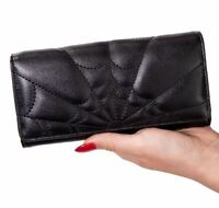 Banned Apparel Malice Cobweb Gothic Halloween Wallet Purse Black Bifold