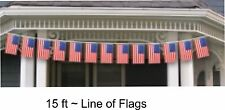 15 ft Line of Flags Bunting Patriotic American 15 Flags 8 in x 12 in   1-4B