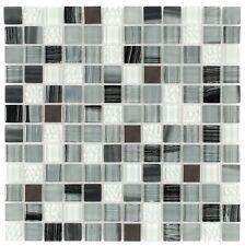 MTO0284   Contemporary Uniform Squares Black Grey White Glass Metal Mosaic Tile