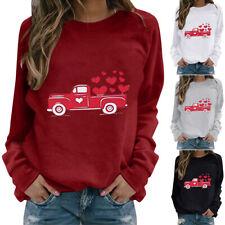 Women Valentine's Day Long Sleeve Print Sweatshirt Pullover Jumper Loose Tops