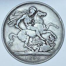 1890 CROWN BRITISH SILVER COIN FROM VICTORIA aVF