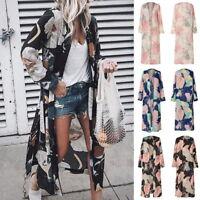Women Floral Print Chiffon Loose Shawl Kimono Cardigan Top Cover Up Shirt Blouse