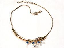 Bijou alliage doré motif coulissant cristal bleu signé LR necklace