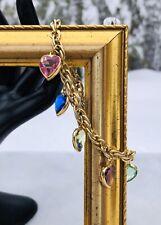 Vintage Goldtone Lovely Multi Color Heart Glass Charm Bracelet