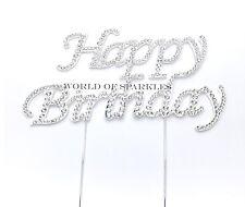Happy Birthday 12 cm grande diamante Diamante Luccicante Cake Topper Argento Regno Unito