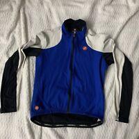 Castelli Cycling Race Jersey Wind Stopper Blue Long Sleeve  Full Zip Size L