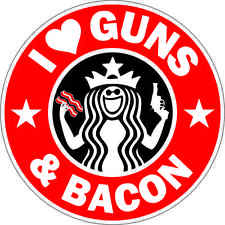 NEW I Love Guns and Bacon Vinyl Sticker Decal Digitally Printer Waterproof