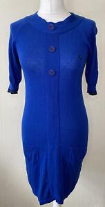 Fred Perry Cobalt Blue Cotton & Silk Knit Dress Size 10 Pockets Buttons Logo