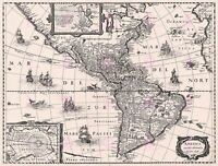 Map Continental America Delineated Hondius 1640 Replica Canvas Art Print