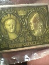 MC Sterling Silver Enamel Postage Stamp Art Ingot - Canada $5 Queen Victoria