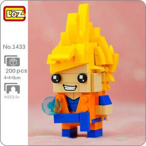 LOZ 1433 Anime Dragon Ball Super Saiyan Son Goku Hero Mini Blocks Building Toy