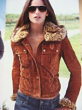$500 NEW! Victoria's Secret Brown Quilted Suede Leather Coat Jacket w/FUR M RARE