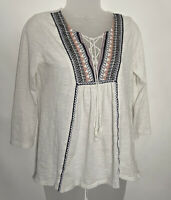 Lucky Brand Womens Size Small Boho Peasant Tunic Top Blouse Tassels Embroidered