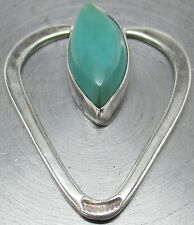 925 STERLING SILVER Navajo Indian Marquise-Cut TURQUOISE Hand Tooled Pendant