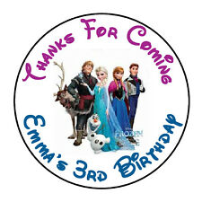 """24 PERSONALIZED FROZEN GROUP BIRTHDAY PARTY FAVOR LABELS STICKERS 1.67"""" ROUND"""