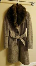 Banana Republic Tweed Winter Wool Coat XS Small Jacket Shearling Fur Collar $600