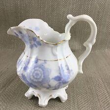 Victoriano Rococó Crema Jarra De Crema Leche azul y blanca, China Antiguo