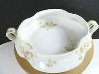Vtg Haviland & Co Limoges French Porcelain Serving Dish Bowl Pink Flower Blossom