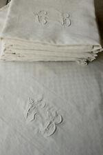 Set of 8 Holiday Napkins Antique French Trousseau CB Monogrammed Linens Damask