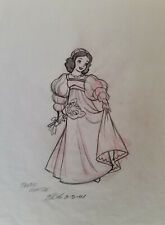 Disney- Snow White Original Drawing Signed by Philo Barnhart and Dated 3/5/01
