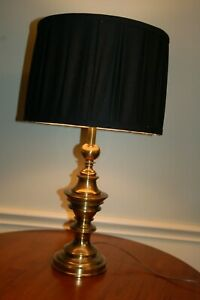 "Black fabric pleated Drum Lamp Shade w White Fabric lining 13"" diam 9.75"" tall"