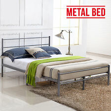 4FT6 Double Silver Metal Bed Frame Bedstead Stylish Sturdy for Adult Children