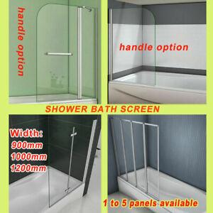 New 1400mm Glass Over Bath Hinge Pivot Folding Shower Screen Door Panel & Seal