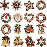 Christmas Crystal Bell Snowflake Brooch Pin Collar Women Men Xmas Jewellery Gift