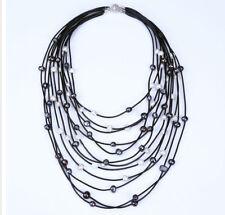 Collar de piel, tipo pechera de varias capas con perlas auténticas de agua dulce