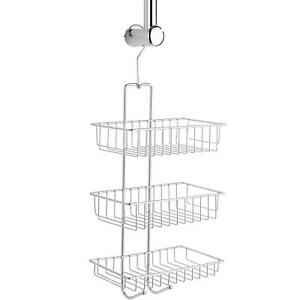 Wenko Exclusive Nivala Shower Rack Caddy With 3 Shelves, Hooks - Steel - Chrome