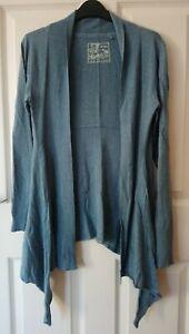 Fat Face Drape Cardigan Size 14 Dusky Blue Cotton/Modal