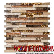 Glasmosaik/Marmor mix beige/braun Fliesenspiegel Küche Art: 86-1302 | 10 Matten