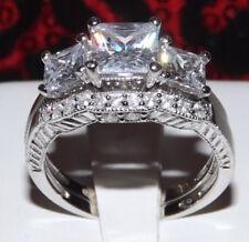 Set Engagement Women'S Sz 5 - 9 2.86 Diamond Simulated Platinum Ep Wedding Ring