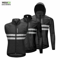 High Visibility Cycling Hooded Jackets Black Bike Jersey Vest Bicycle Windproof