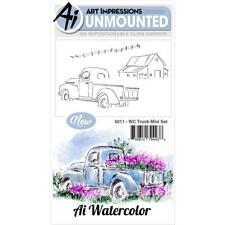 New ART IMPRESSIONS RUBBER STAMP Cling  watercolor MINI TRUCK SET FREE US SHP