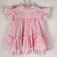 Vintage BRYAN Baby Girl Dress Peter Pan Collar Pink Striped Frilly 12-24 Months