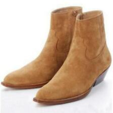 Chic Mens High Top Ankle Boots Genuine Suede Leather New Vintage Mid Heel 38-46