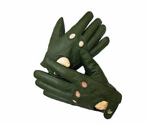 Commando Green Sheep skin Leather Driving Gloves for Men