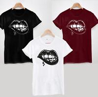 Vampire Mouth T-Shirt - Halloween Fangs Biting Lip Mens or Ladies Tee Top