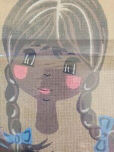 Vintage Semco Tapestry Emboidery kit Big Eye Lady dark skin blue