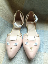 ASOS peach cat face ankle strap pointed toe ballet flats pointy shoe kitty 7 NEW