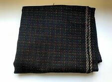 "3YDS Fabric Yardage Wool Blend Black W/ Red Blue Green Yellow Threads 60"" Wide"