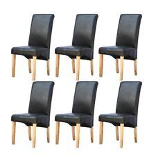 Modern Dinning Chair With Oak Legs PU Leather Modern Furniture 6 x Pair Black
