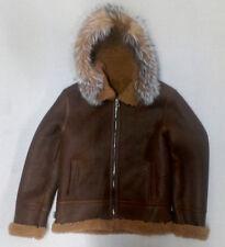 Men's Shearling Cognac Sheepskin Aviator Jacket-B3 Silver Fox Fur Hood Size 3XL