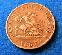 1857 Canada 1/2 Penny - Dragon Slayer - Bank of Upper Canada Token - SEE PICS