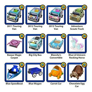 PICK THREE - Webkinz Virtual Vehicles, Rockers, Hot Air Balloons, etc.